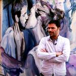 Los autores de la calle de los colores realizan una pintura en directo en el Mercado Central