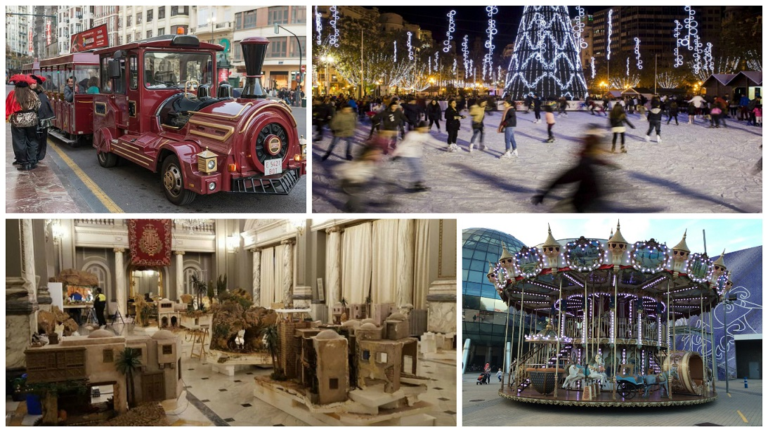 Un tiovivo estas Navidades junto a la pista de hielo y el árbol de la plaza del Ayuntamiento