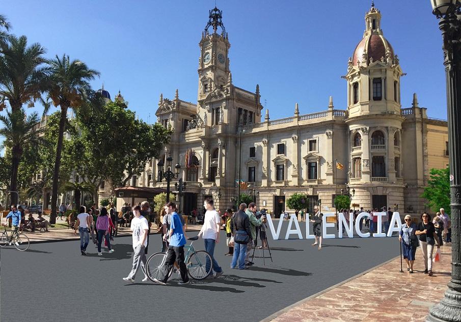 La plaza del Ayuntamiento de Valencia será definitivamente peatonal al acabar las Fallas de 2020