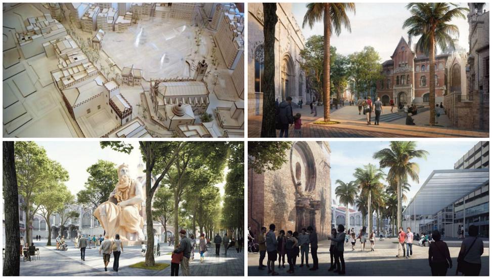 Así será el futuro entorno de la plaza de la ciudad de Brujas, el Mercado Central y La Lonja de Valencia